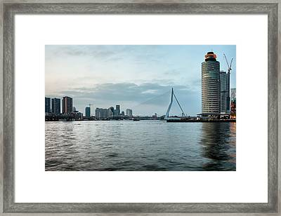 River View Of Rotterdam In Netherlands Framed Print