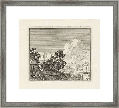 River View With A Haystack, Print Maker Hendrik Hoogers Framed Print