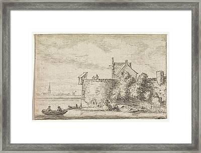 River View With A Rampart, Print Maker Hendrik Spilman Framed Print
