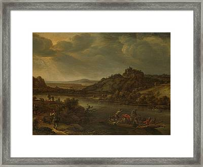 River View With Ferry, Herman Saftleven Framed Print