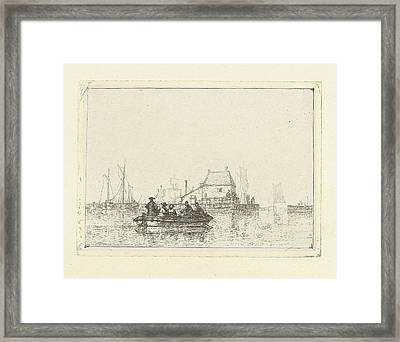 River View With Rowing Boat At Pier, Albertus Brondgeest Framed Print