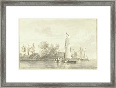 River View With Sailing And Rowing Boat, Martinus Schouman Framed Print