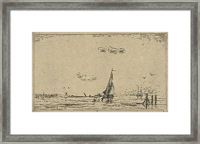 River View With Sailing Ship, Jan Daniël Cornelis Carel Framed Print