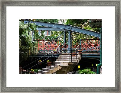 River Walk Staircase And Bridge Framed Print by Ed Gleichman