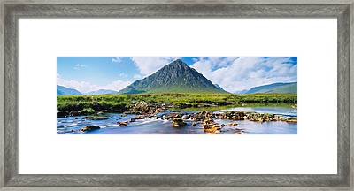 River With A Mountain Framed Print