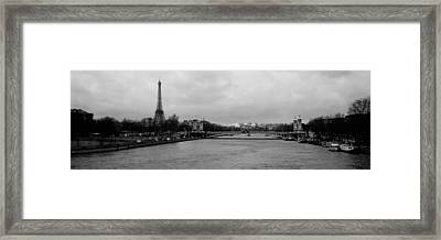 River With A Tower In The Background Framed Print by Panoramic Images