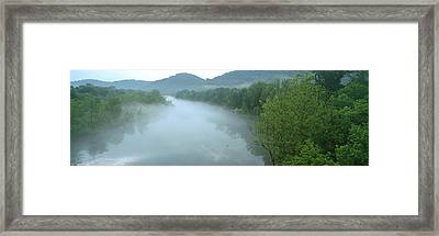 River With Mountains In The Background Framed Print