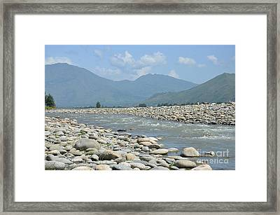 Riverbank Water Rocks Mountains And A Horseman Swat Valley Pakistan Framed Print