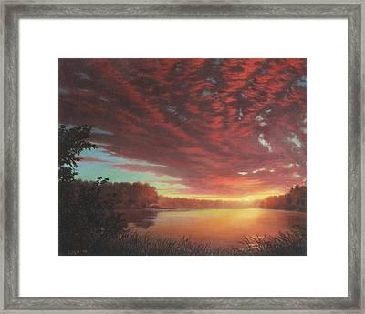 Riverbend Sunset Sky River Landscape Oil Painting American Yellow Pink Orange Framed Print by Walt Curlee