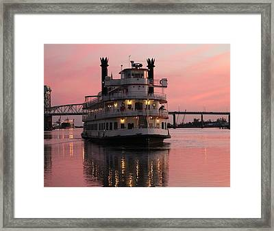 Riverboat At Sunset Framed Print by Cynthia Guinn