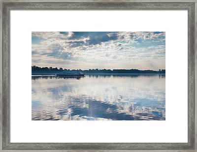 Riverboat In River, Volga Riverfront Framed Print