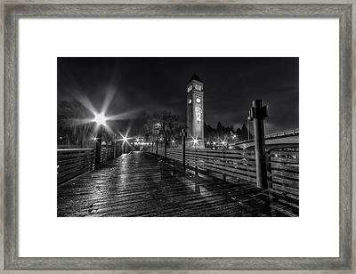 Riverfront Park Clocktower Seahawks Black And White Framed Print by Mark Kiver