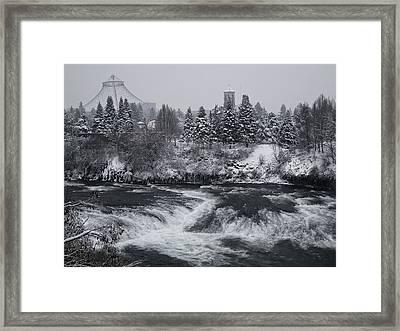 Riverfront Park Winter Storm - Spokane Washington Framed Print by Daniel Hagerman