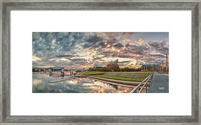 Riverfront Pier Sunrise  Framed Print