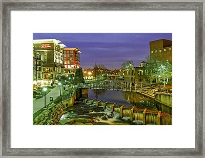Riverplace And Art Crossing At Sunset In Downtown Greenville Sc Framed Print