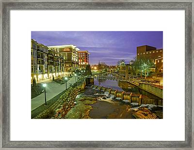 Riverplace In Downtown Greenville Sc At Twilight Framed Print