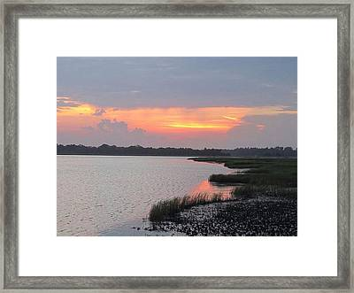 Framed Print featuring the photograph River's Edge Sunset by Joetta Beauford