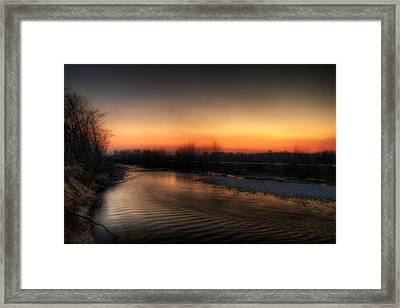Riverscape At Sunset Framed Print