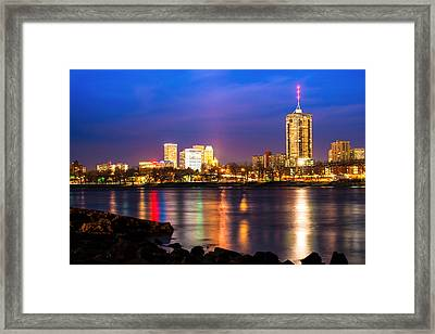 Riverside View Of Tulsa Oklahoma Skyline Framed Print