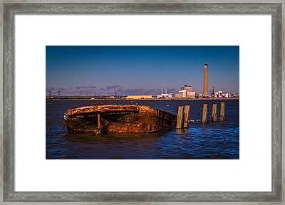 Riverside Wreck Framed Print