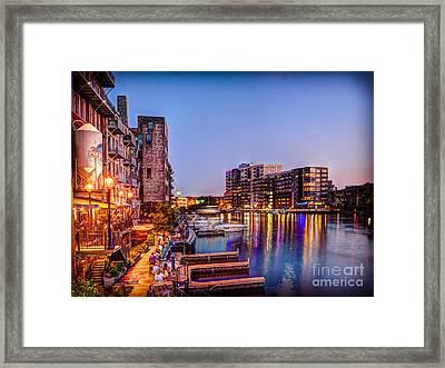Riverwalk At Dusk Framed Print