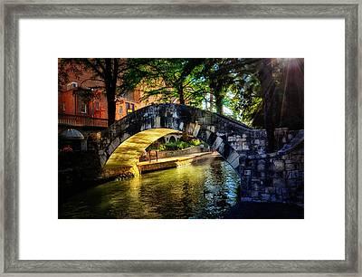 Riverwalk In The Sun Framed Print by Tricia Marchlik