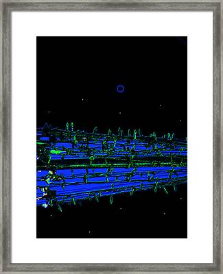 Riverwalk Night Lights Framed Print by Lenore Senior