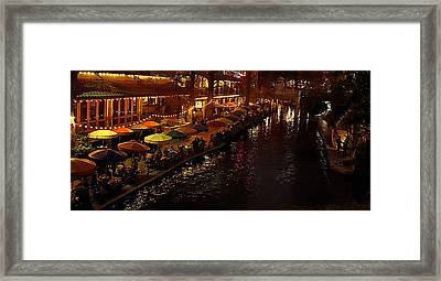 Riverwalk Night Framed Print by Mary Jo Allen