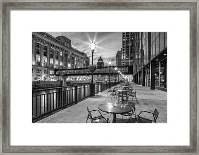 Riverwalk Seating Framed Print by Jeffrey Ewig