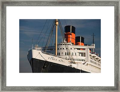 Rms Queen Mary Cruise Ship At A Port Framed Print