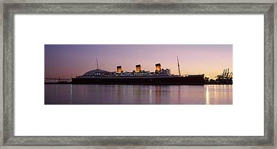 Rms Queen Mary In An Ocean, Long Beach Framed Print