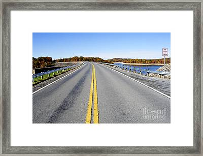 Road Across Summersville Dam Framed Print by Thomas R Fletcher