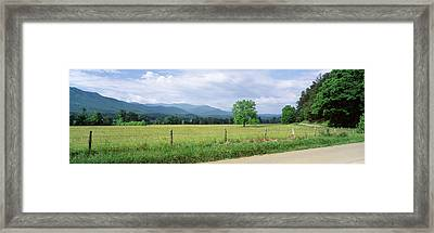 Road Along A Grass Field, Cades Cove Framed Print by Panoramic Images