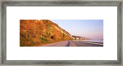 Road Along A River, Great River Road Framed Print by Panoramic Images
