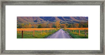 Road At Sundown, Cades Cove, Great Framed Print by Panoramic Images