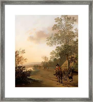 Road By The Edge Of A Lake Framed Print