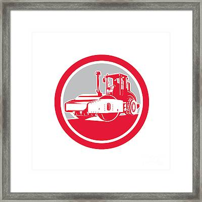 Road Compactor Circle Retro  Framed Print by Aloysius Patrimonio