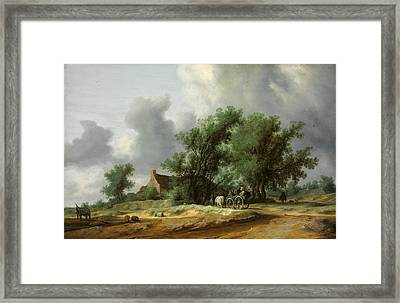 Road In The Dunes With A Passanger Coach Framed Print by Salomon van Ruysdael