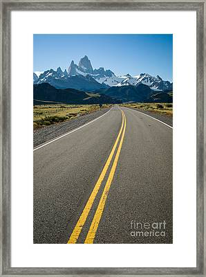 Road Leading To Fitz Roy In Patagonia Framed Print by OUAP Photography