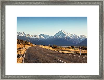 Road Leading To Mt Cook Mountain, New Framed Print by Matteo Colombo