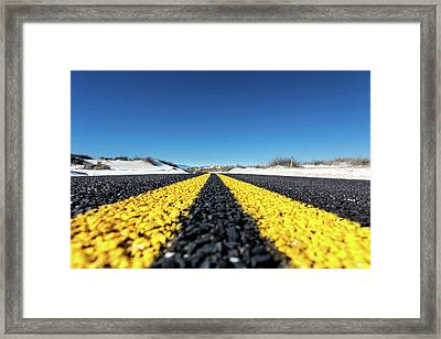 Road Markings On Asphalt Framed Print by Wladimir Bulgar