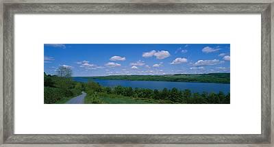 Road Near A Lake, Owasco Lake, Finger Framed Print by Panoramic Images