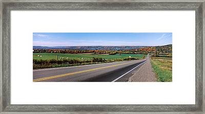 Road Passing Through A Field, Finger Framed Print by Panoramic Images