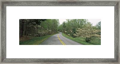 Road Passing Through A Landscape, Blue Framed Print by Panoramic Images