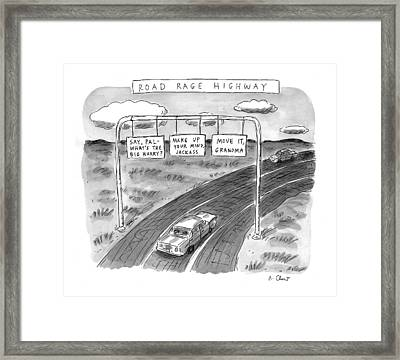 'road Rage Highway' Framed Print by Roz Chast