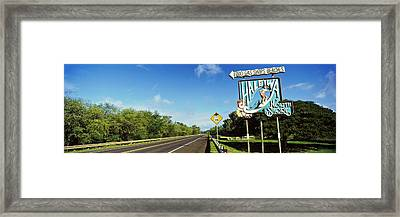 Road Sign At The Roadside, Haleiwa Framed Print by Panoramic Images