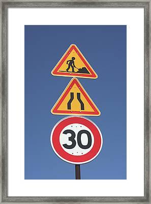 Road Signs Framed Print by Alex Bartel