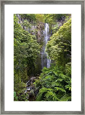 Road To Hana Waterfall - Waimea Valley Maui Hawaii Framed Print