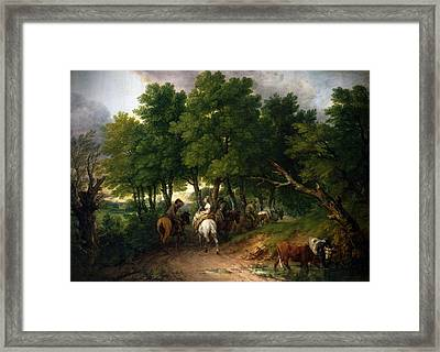 Framed Print featuring the digital art Road To Market Painting by Thomas Gainsborough