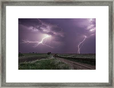 Road To Nowhere - Lightning Framed Print by Aaron J Groen